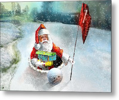 Santas Hole In One Metal Print