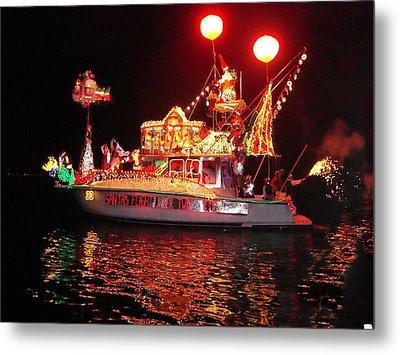 Santa's Sleigh Boat Metal Print