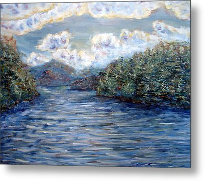 Metal Print featuring the painting Saranac Lake On A Summer Evening by Denny Morreale