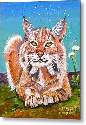 Sassy Lynx And Dandelions Metal Print by Phyllis Kaltenbach