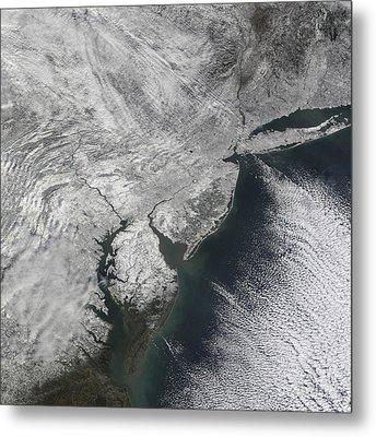 Satellite View Of A Noreaster Snow Metal Print by Stocktrek Images