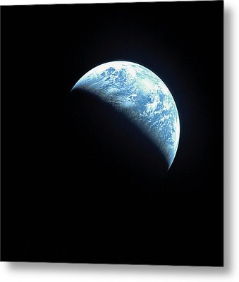 Satellite View Of A Partially Hidden Earth Metal Print by Stockbyte