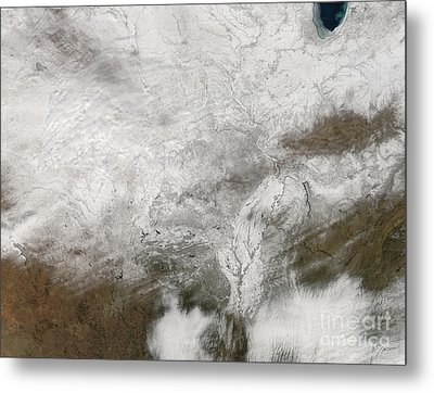 Satellite View Of A Severe Winter Storm Metal Print by Stocktrek Images