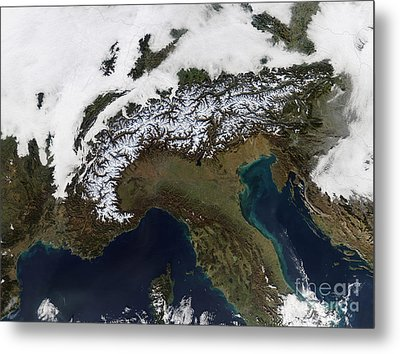 Satellite View Of The Alps Metal Print by Stocktrek Images