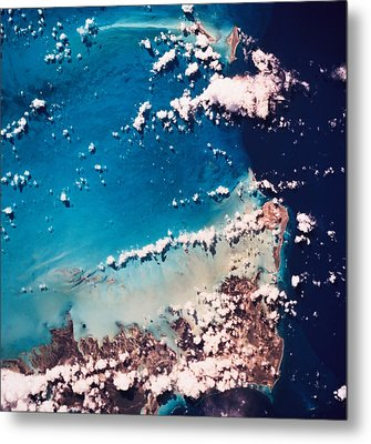 Satellite View Of The Ocean Metal Print by Stockbyte