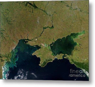 Satellite View Of The Ukraine Coast Metal Print by Stocktrek Images