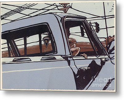 Saturday Afternoon - Linocut Print Metal Print