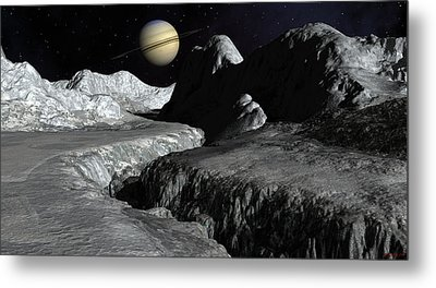 Saturn From The Surface Of Enceladus Metal Print by David Robinson