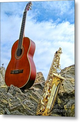 Metal Print featuring the photograph Sax And Guitar by Jason Abando
