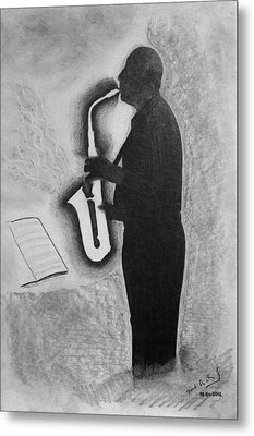 Sax Player Silhouette Metal Print by Miguel Rodriguez