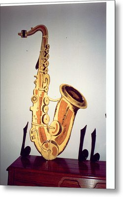 Saxaphone Metal Print by Val Oconnor