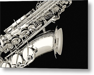 Saxophone Black And White Metal Print by M K  Miller