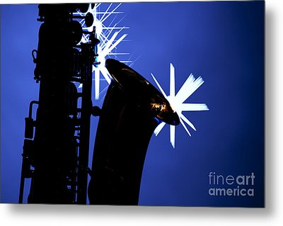 Saxophone Silhouette On Blue Metal Print by M K  Miller