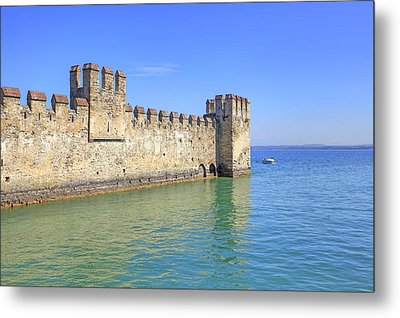 Scaliger Castle Wall Of Sirmione In Lake Garda Metal Print by Joana Kruse