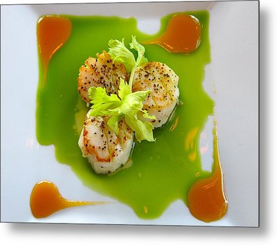 Scallops In Green Sauce Metal Print