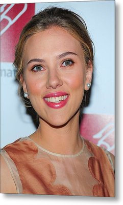 Scarlett Johansson At Arrivals For New Metal Print by Everett