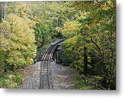 Scenic Railway Tracks Metal Print by Susan Leggett