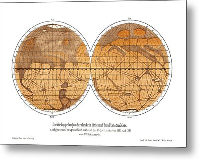 Schiaparelli's Map Of Mars, 1882-1888 Metal Print by Detlev Van Ravenswaay
