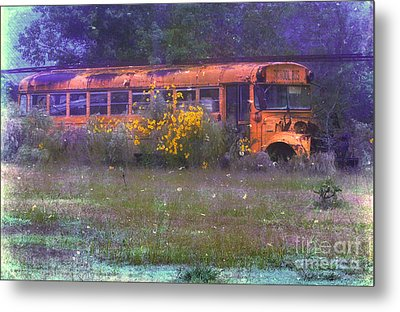 School Bus Out To Pasture Metal Print by Judi Bagwell