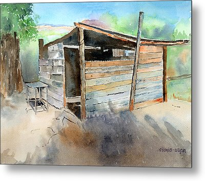 Metal Print featuring the painting School Cooking Shack - South Africa by Arline Wagner
