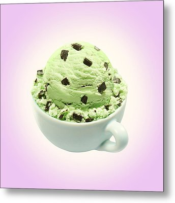 Scoop Of Mint Chocolate Chip Ice Cream Metal Print
