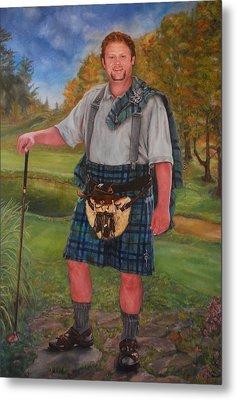 Scottish Golfer Metal Print by Phyllis Barrett
