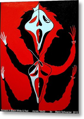 Scream In Black White And Red Metal Print by Marie Schwarzer