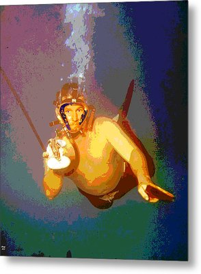 Scuba Diver Metal Print by Charles Shoup