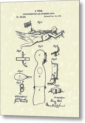 Scuba Suit 1876 Patent Art Metal Print by Prior Art Design