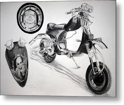 Scull Scooter Metal Print by Lynn Hughes
