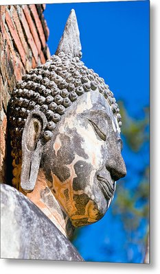 Sculpture Buddha Face Texture Detail Metal Print by Chatuporn Sornlampoo