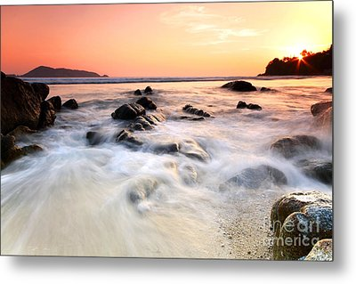 Sea And Rock At The Sunset. Nature Composition.  Metal Print
