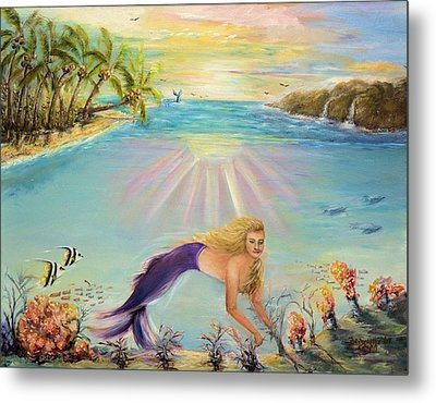 Sea Mermaid Goddess Metal Print