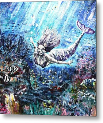 Metal Print featuring the painting Sea Surrender by Shana Rowe Jackson