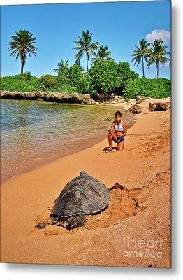 Sea Turtle At Laniakea Metal Print by Joe Finney