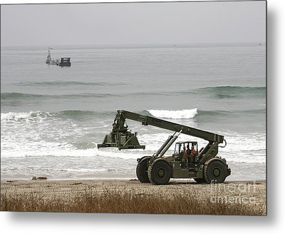Seabee Loader And Powered Causeway Metal Print by Michael Wood