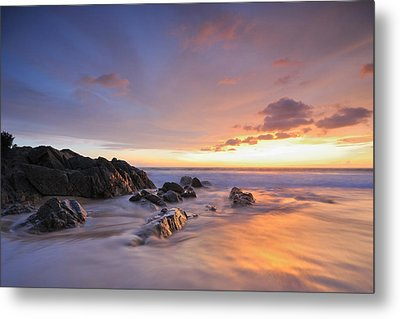 Seascape At Sunset Metal Print by Teerapat Pattanasoponpong