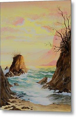 Seastack Sunset Metal Print