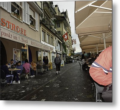 Seated In The Cafe Along The River In Lucerne In Switzerland Metal Print by Ashish Agarwal