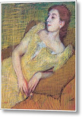 Seated Woman In A Yellow Dress Metal Print by Edgar Degas