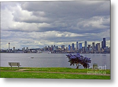 Metal Print featuring the photograph Seattle From Alki Beach by Jack Moskovita