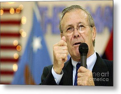 Secretary Of Defense Donald H. Rumsfeld Metal Print by Stocktrek Images