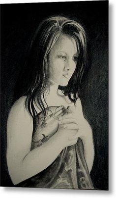 Metal Print featuring the drawing Secrets by Lynn Hughes