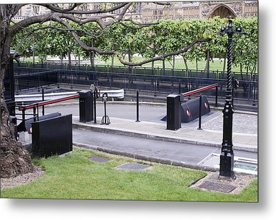 Security Barriers At Houses Of Parliament Metal Print by Mark Williamson