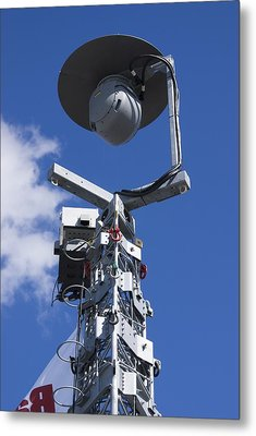 Security Camera On Tower. Metal Print