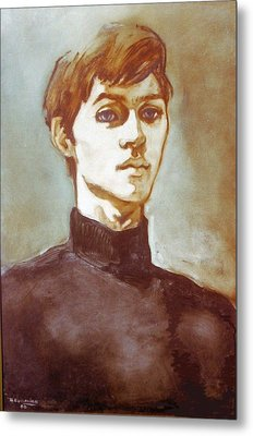 Self Portrait Blue Metal Print