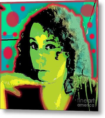 Self Portrait Pop Art Metal Print by Christine Perry