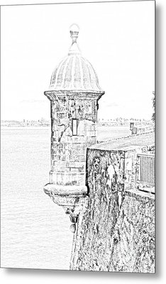 Sentry Tower Castillo San Felipe Del Morro Fortress San Juan Puerto Rico Line Art Black And White Metal Print by Shawn O'Brien