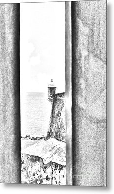 Sentry Tower View Castillo San Felipe Del Morro San Juan Puerto Rico Black And White Line Art Metal Print by Shawn O'Brien