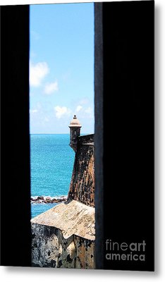 Sentry Tower View Castillo San Felipe Del Morro San Juan Puerto Rico Ink Outlines Metal Print by Shawn O'Brien